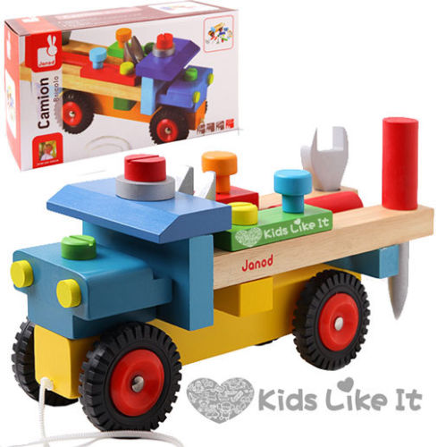 Janod Kids Boys Wooden 2 In 1 Diy Pull Along Truck