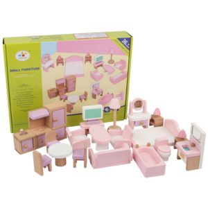 Pink Dolls House Furniture Wooden Set Dolls Toys For Kids Gift 19 pieces